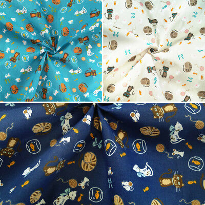 Polycotton Fabric The Cat Mouse Fish Bowl Play Craft Wool Ball Play Bows • 3£