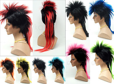 $39.99 • Buy Mohawk Punk Rock Spiky Wig Long Straight Tail Spiked Colors Costume