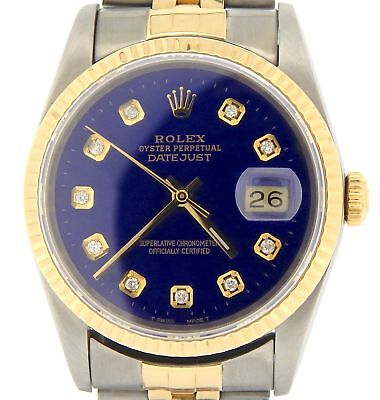 $ CDN7771.02 • Buy Mens Rolex Datejust 18k Gold Steel Watch With Submariner Blue Diamond Dial 16233