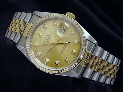 $ CDN8080.62 • Buy Rolex Datejust Mens 18K Gold Stainless Steel Watch Diamond Dial Champagne 16233