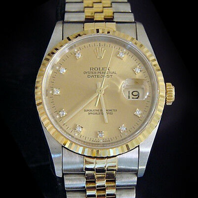 $ CDN9649.62 • Buy Rolex Mens Datejust 18k Yellow Gold Steel Watch Gold FACTORY Diamond Dial 16233