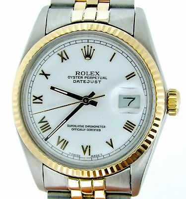 $ CDN7559.70 • Buy Rolex Datejust Mens 18K Yellow Gold & Steel Watch White Roman Dial Jubilee 16013