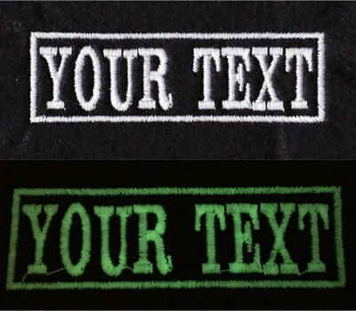 Glow In The Dark Personalised Name Patch Text Badges Sew On Iron On Twill Felt  • 3.10£