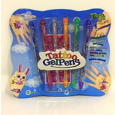 £3.99 • Buy  Tattoo Glitter Gel Pens With Body Art Stencil And Charms