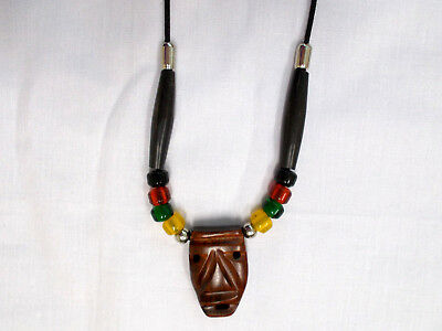 $19.99 • Buy Exotic Rose Wood Tiki Mask Pendant Glass Rasta Color Accent Beads Adj Necklace
