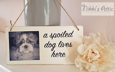 Personalised Pet Lives Here Plaque, Sign, Dog, Cat, Gift ,Home,Handmade,wooden. • 4.75£