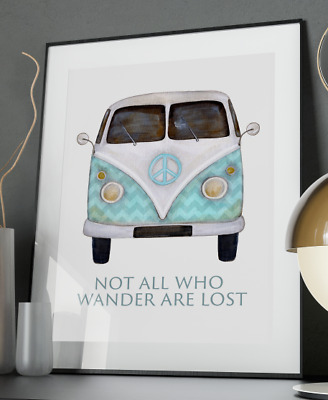 £6.95 • Buy VW Camper Van Wander Art Print A3 A4 A5 A6 Decor Gift Wall Xmas Nursery Poster