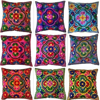 Indian Cushion Covers Suzani Covers Wool Embroidered Mirrors Boho Case 40 Cms Uk • 3.99£