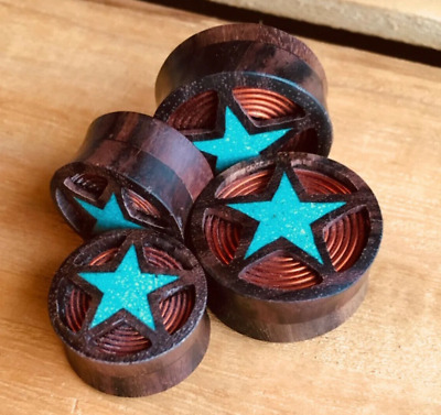 $10.50 • Buy PAIR Sono Wood Plugs W/ Crushed Turquoise Star & Copper Coil Earlets Gauges