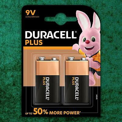 2 Pack Duracell PLUS POWER 9V 6LR61 LR22 MN1604 PP3 Batteries Block Smoke Alarm • 5.19£