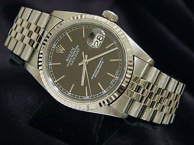$ CDN7299.02 • Buy Rolex Datejust Mens Stainless Steel & 18K White Gold Watch Jubilee Black 16234