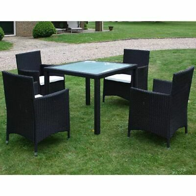 AU467.99 • Buy VidaXL Outdoor Dining Set 9 Piece Poly Rattan Black Garden Patio Table Chairs