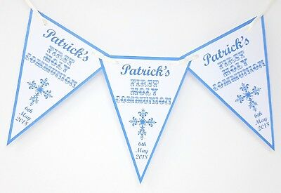 Personalised 1st Holy Communion Bunting Banner Party Decoration Cross Girl Boy • 6.50£