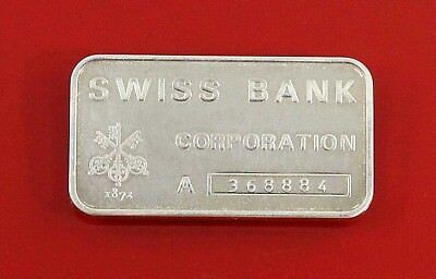 1oz Ingot  Fine Silver Bar    Swiss Bank  Corporation    -  A368884 • 40.09£