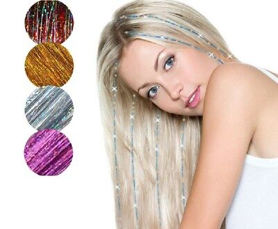 Holographic Sparkle Hair Tinsel Strands Glitter Extensions Highlight Party Bling • 1.59£