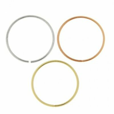 AU44.57 • Buy Nose Rings 9K Carat Genuine Gold Set Of 3 Rose Yellow And White  22g 10mm