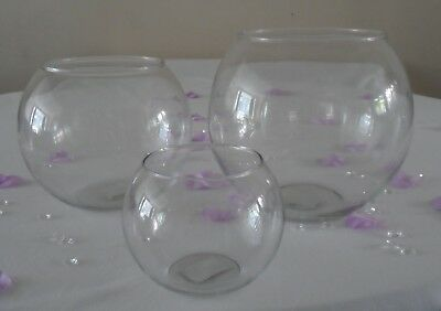 Clear Glass Flower Round Vase Fish Bowl Bubble Ball Table Centrepiece Wedding • 10.95£