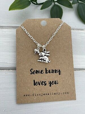 £3.75 • Buy Some Bunny Loves You Rabbit & Heart Silver Necklace Message Card Easter Gift