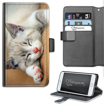 AU22.63 • Buy Cat Phone Case, PU Leather Side Flip Phone Cover With TPU Insert, Grey Kitten