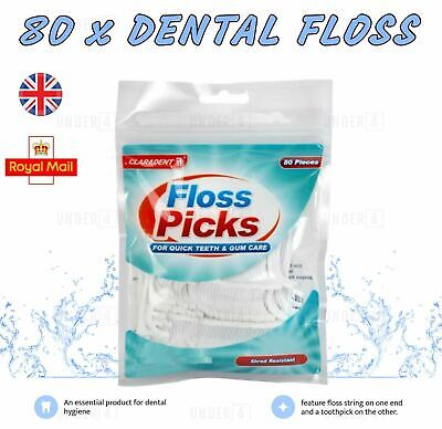 80 Dental Floss Sticks & Tooth Picks Teeth Plaque Remover Interdental 2 In 1 UK • 2.65£