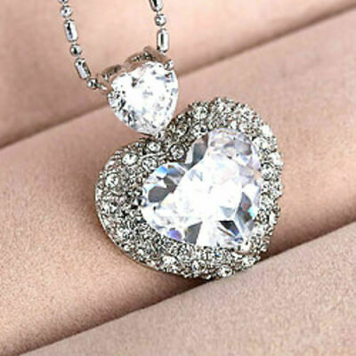 £3.99 • Buy 925 Sterling Silver Heart Crystal Necklace Women Jewellery Pendant Xmas Gift UK