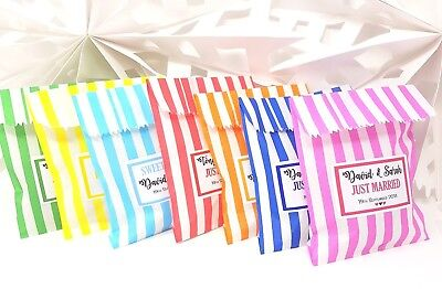 £5.99 • Buy Personalised Wedding Favour Sweet Bags Birthday Candy Cart Striped Polka Dots