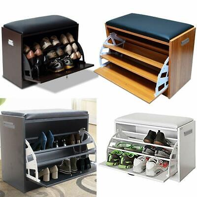 £37.99 • Buy Ottoman Shoe Cabinet Seat Storage Wooden Closet Rack Cupboard Shoes Bench Drawer