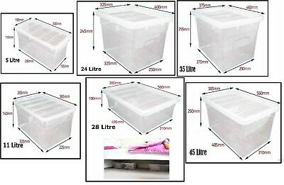 £8.99 • Buy Clear Plastic Storage Box Boxes With Lids UK BRITISH MADE Home Office Stackable