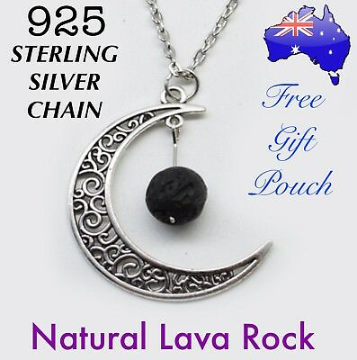 AU8.50 • Buy Lava Rock Moon Aromatherapy Essential Oil Diffuser Pendant 925 Sterling Necklace