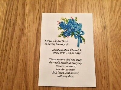10 Personalised  Forget-Me-Not Seeds Funeral, Memorial, In Memory Of, • 4.50£