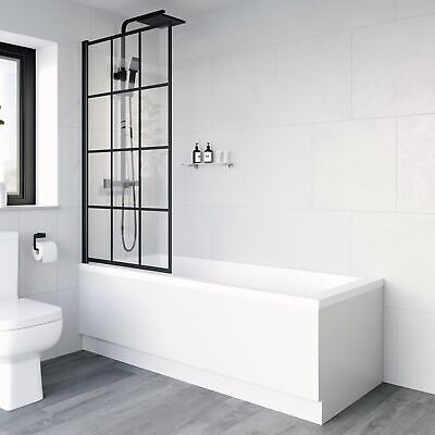 £94.97 • Buy Bath Shower Screen Door Hinged 800mm Black Grid Square 6mm Safety Glass Panel