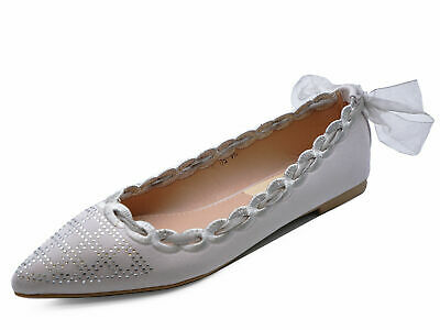 £7.95 • Buy Womens Flat Silver Pointy Slip-on Wedding Bridesmaid Ballet Dolly Shoes Uk 3-8