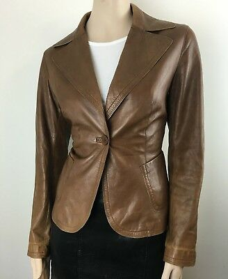 $ CDN291.29 • Buy Danier Womens Fitted Single  Button Brown Leather Jackets Size Small UK. 12-14