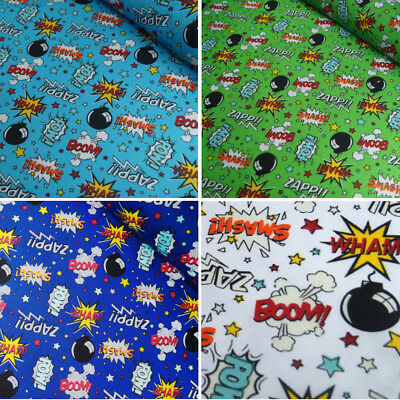 Polycotton Fabric Comic Book Sound Effect Cartoon Smash Boom Zapp Wham Bang  • 4.40£