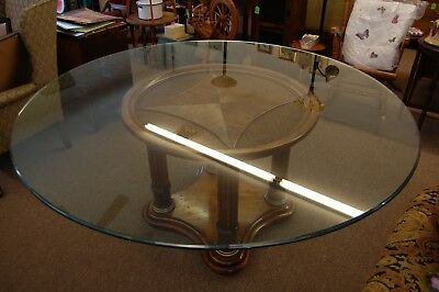 $585 • Buy Round Table Decorative Wooden Center Heavy Glass Top Spindle Pedestal Base