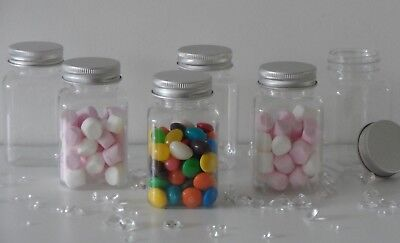 £9.45 • Buy Small Clear Plastic Jars Bottle Metal Lid Children Party Sweets Wedding Favours