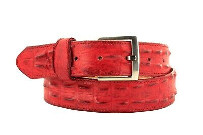 $34.99 • Buy Mens Crocodile Tail Belt Print Leather Western Red Buckle Cinto Rancho