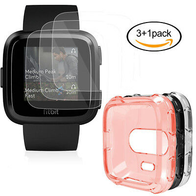 $ CDN8.03 • Buy Screen Protector With Case For Fitbit Versa,3-Pack Film Clear HD Full Coverage