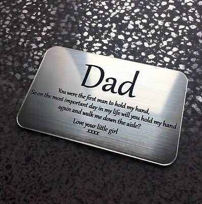 Father Of The Bride Wallet Size Gift Engraved Personalised Gift Will You Walk Me • 5.99£