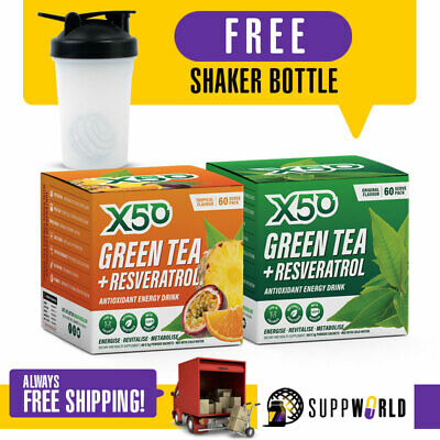AU89 • Buy Green Tea X50 Weight Loss Energy Drink - 60 Serves - TWIN PACK - Free Shipping