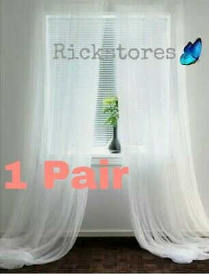 IKEA 1 X Pair Of Long Sheer Floaty White Net Lill Curtains 280x250 FAST DELIVERY • 8.75£