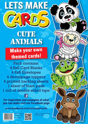 Lets Make Cards Birthday Full Kit Childrens Cut & Create Decoupage CUTE ANIMALS • 4.99£