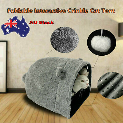AU15.99 • Buy Crinkle Kitty Cat Warm Sleeping House Bed Portable Pet Tunnel Play Toys