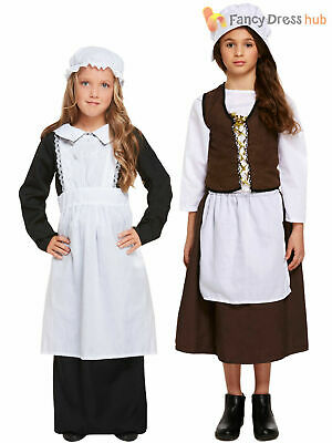 $12.44 • Buy Girls Victorian Maid Costume Childs Poor Edwardian Fancy Dress Outfit Book Day