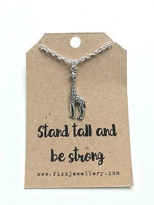 £4.25 • Buy Stand Tall And Be Strong Giraffe Silver Plated Necklace Message Card Gift
