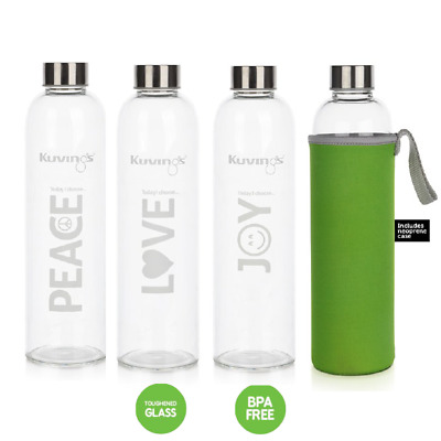 AU19.95 • Buy Peace Joy Love -1 Litre Glass Bottles With Stainless Steel Lid