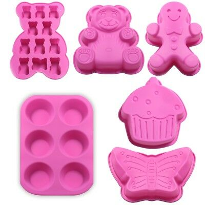 NON-STICK SILICONE BAKING MOULDS Chocolate/Jelly/Ice Cube/Brownie Molds FLEXIBLE • 3.89£