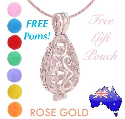 AU7.50 • Buy Rose Gold Aromatherapy Essential Oil Perfume Diffuser Tear Drop Locket Necklace