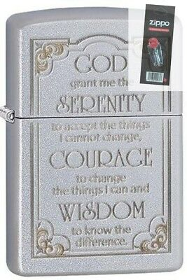 $14.81 • Buy Zippo 28458 Serenity Prayer Satin Chrome Lighter + FLINT PACK