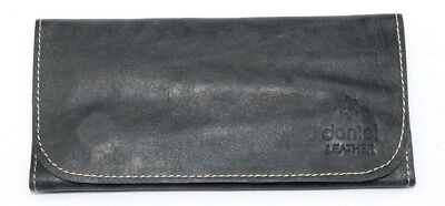 Soft Genuine Smoke Tobacco Rolling Pocket Pouch Case Real Vintage Black Leather • 12.99£